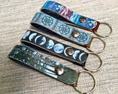 Leather Belt Key Fob/ Belt Keychain with Digital Photo Print on 100% Genuine Leather, Moons, Trees, Compass, Choose One