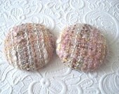 Pink buttons, tweed buttons, wool buttons, fabric buttons, textured buttons, 1.5 inch button, size 60 buttons, price per button