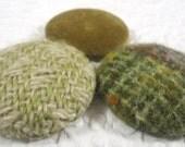 Green buttons, wool buttons, velvet button, fabric buttons, size 60 buttons, set of  buttons