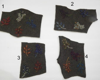 Wool leaves, embroidered leaves, wool fabric, leafy fabric, green wool fabric, applique, sewing