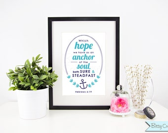 Hebrews 6 Bible Verse Printable Wall Art Instant Download Typography Hebrews 6:19