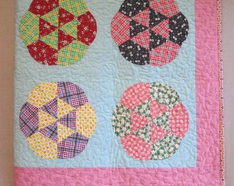 Baby Girl Crib Quilt -  Feedsack Flowers Quilt -  Scrap Quilt