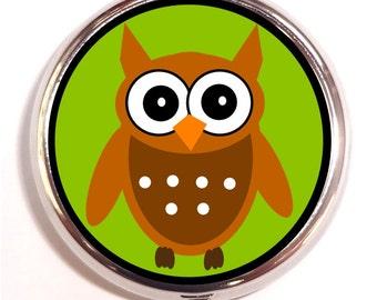 Kawaii Owl Pill Box Case Owl Pop Art Colorful Pillbox birth control case