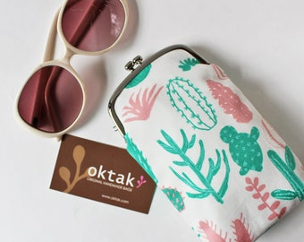 Eyeglass case / long kiss lock purse green and pink cactus on white plant succulent eyeglass holder fabric soft case clasp purse