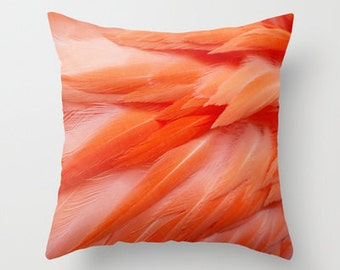 photography pillow cover, decorative pillow, throw pillow, pink home decor, flamingo feathers, animal photography