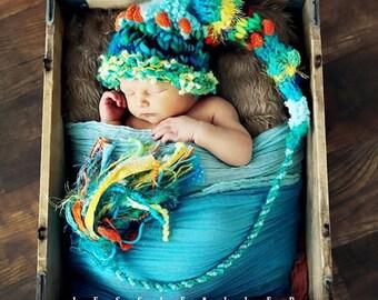 Newborn Baby Boy Hat Knit BaBY PHoTO PRoP Fancy Yarn LoNG SToCKiNG CAP Unique Aqua Orange Lime Beanie CaRiBe DeLISH Fat TaSSeL Pixie Toque