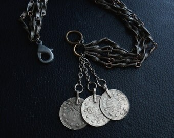 nomad ii - vintage kuchi coin and textured steel chain bracelet - repurposed vintage edgy boho gypsy jewelry