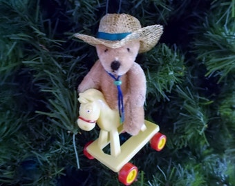 Cowboy Bear Christmas Tree Ornament Miniature Bear with Cowboy Hat and Bolo Tie on Rolling Rocking Horse OOAK