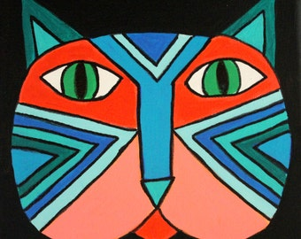Cool Abstract Cat Face Original Painting