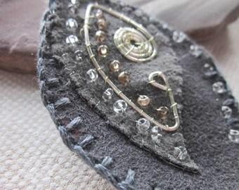 Charcoal Grey Silver Beaded Fabric Leaf Brooch