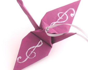 Silver Treble Clef on Mulberry Plum Handpainted Origami Crane Ornament, Music Inspired