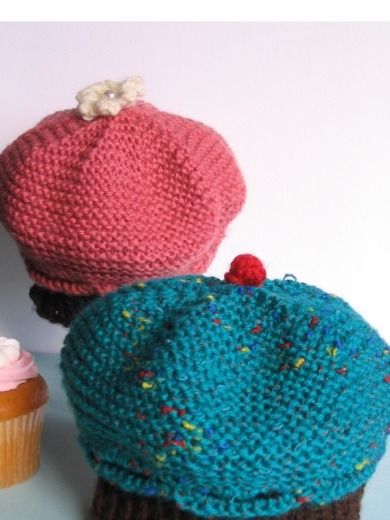 Knitted Cupcake Hat Pattern : Cupcake Hat Knitting Pattern PDF baby and toddler size