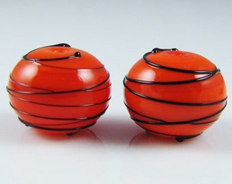 Orange and Black Hollow Spiral Wrap Lampwork Glass Beads