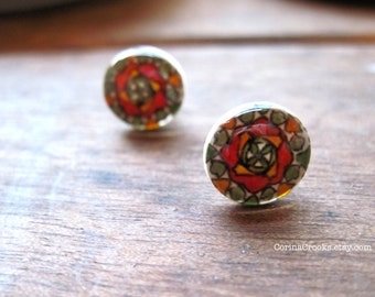 Mexican Jewelry, Miniature Mexican Talavera tile Post Earrings, orange and green flower, Mexican Folk Art, native earrings, stud
