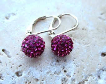 SALE SALE SALE  Fuscia Pink Disco Ball Earrings, Sterling Silver Leverbacks, Rhinestone Earrings, Under 25,
