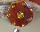 Russet Gold Lightning Pillbox--Large Septagon