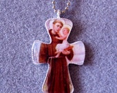St. Anthony of Padua Handmade Catholic Resin Cross Crucifix Necklace