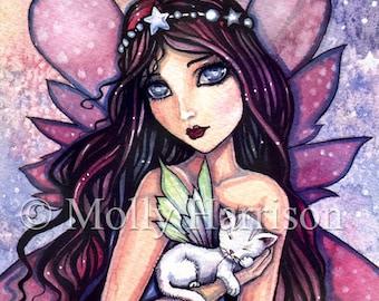 Dreamland - Fairy and Little White Cat - Fine Art Giclee Print 9 x 12 - Molly Harrison Fantasy Art Illustration