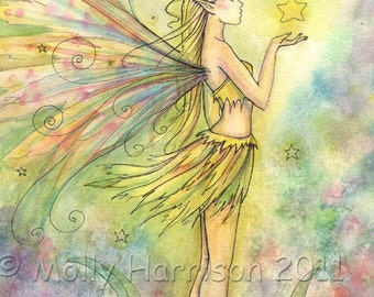 Golden Star -  9 x 12 Watercolor Fine Art Giclee Print - Fairy Fantasy Illustration by Molly Harrison