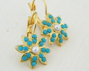 Victorian sunburst Turquoise and Pearl Leverback Earrings
