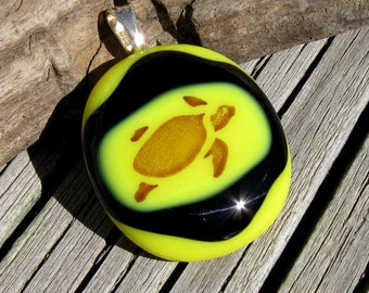 Sepia Turtle Fused Glass Pendant