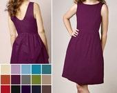 Custom Linen blend Boat neck /back V-neck Dress with Pockets  - COLOR OPTIONS