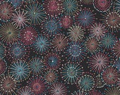 Chiyogami or yuzen paper - burst of fireworks - cornflower blue and dusty pink with metallic gold, 9x12 inches