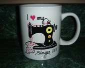 Personalized Ceramic Mug handpainted, Sewing theme, Old Black Singer 221