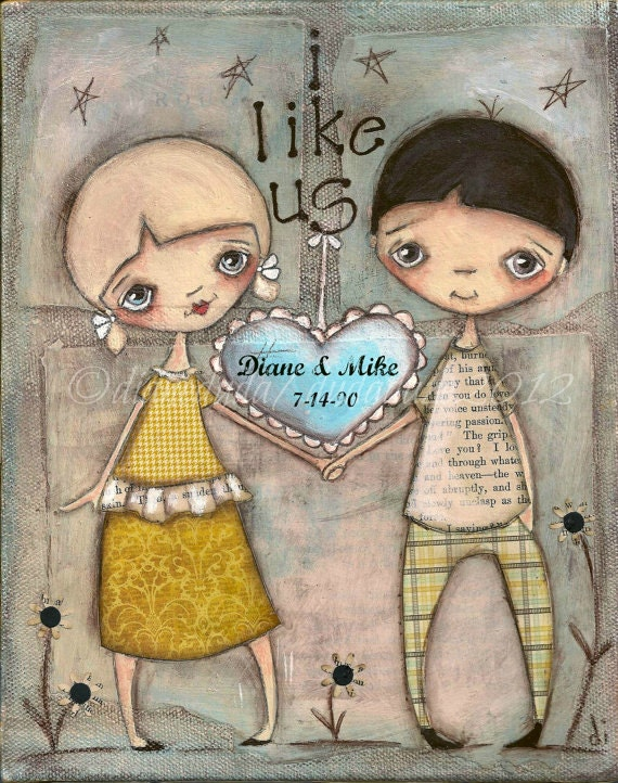 Customizable Print of my original mixed-media painting - I Like Us
