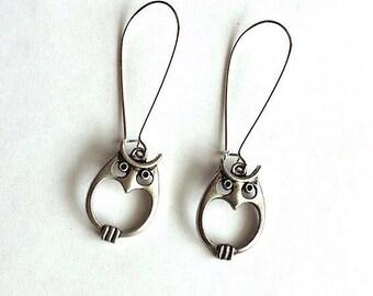 Silver Owl Dangle Earrings - whooter - owls owl jewelry - owl earrings