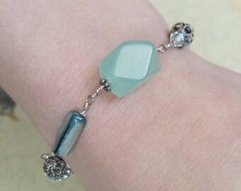 Blue Bracelet, Blue Gemstone, Sterling Silver, Amazonite, Abalone, Swarovski