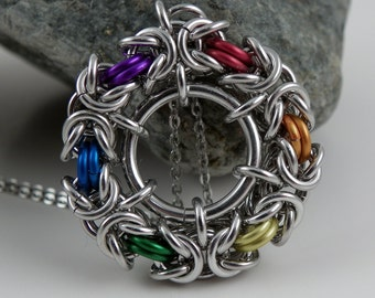 Rainbow Circle Byzantine Pendant - Chainmaille Pendant - Chainmaille Necklace