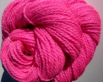 Alpaca and Cormo Wool Yarn for Knitting, Crochet, Felting, and Weaving - Fuschia / Hot Pink,  Hand dyed, Farm Grown, DK Weight - 250 yards