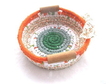 FLYING IRISH  Textile  art Basket  Bowl  in orange green and white