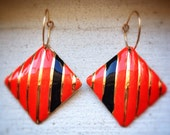 Upcycled Geometric Striped Black Red & Gold Earrings, mod, valentines day