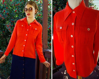 FLORIDA Orange 1970's Vintage Bright Orange Button Down Shirt with Pointed Collar // size 12 Small Med // by JOHN MEYER