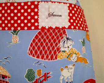 Vintage Style Laundry Bag 1930s Repro Prints Of Nursery Rhymes Polka Dots And Houses All Cotton Handmade Nostalgic Washing Bag