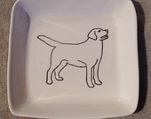 "Dog on a 3"" square porcelain dish"