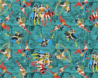 TEAL Licensed DC Comic Wonder Woman SuperGirl Batgirl Tossed Fabric By The Yard 1 Yard