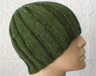 Olive army green tweed ribbed beanie hat, skull cap, knit toque, ski snowboard, hiker runner biker, skateboard, mens womens hat, chemo cap
