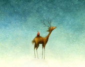 Set Of Four Deer And Bird Holiday Fine Art Print Note Cards