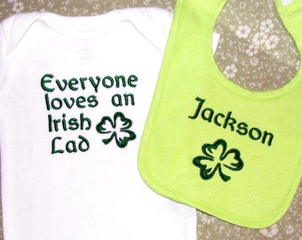 Personalized Irish Set of 2 Bib and Bodysuit.  Great Gift Idea.