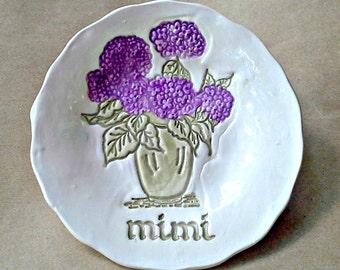 Ceramic MIMI Trinket dish with hydrangea edged in gold