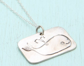 WHALE necklace,  silver pendant or 14kt gold vermeil pendant. Illustration by Boygirlparty. Handcrafted by Chocolate and Steel