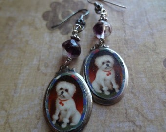 Bichon frise terrier earrings Vintage syle