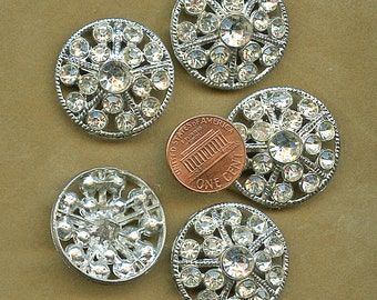 Rhinestones Buttons  Set of (5) Vintage Matching Pierced  Silver Tone Setting New Old Stock Large 1 1/8 inch size 9562