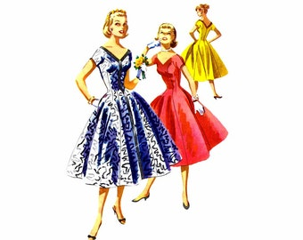1950s McCalls 3434 Princess Seam Full Skirt Dress Vintage Sewing Pattern Size 13 Bust 31