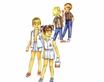1960s Childs Shirt Pants Shorts Simplicity 5984 Vintage Sewing Pattern Childrens Size 4 UNCUT