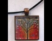 Pendant with Leather Band, Art, Jewelry, Necklace, Print, Karina Keri-Matuszak, Abstract Landscape, Tree