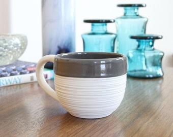 Grey Porcelain Mug - Groove Mug in Grey - Large 14 Ounce Pottery Mug